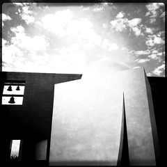 Chapel of St. Basil B&W (J-a-x) Tags: sky blackandwhite bw building apple church architecture clouds contrast campus landscape religious university catholic cityscape chapel iphone universityofstthomas chapelofstbasil hipstamatic iphone4s