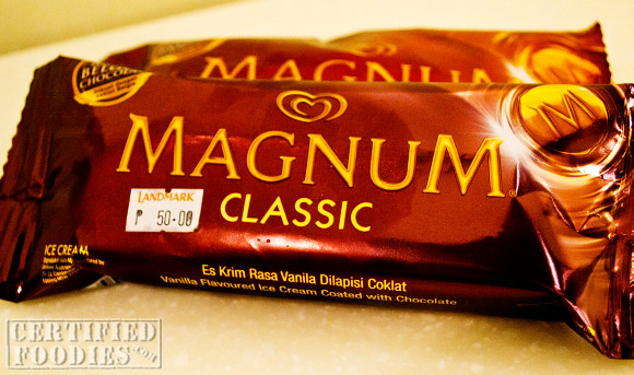 Magnum ice cream Classic variant - priced at Php 50 at Landmark
