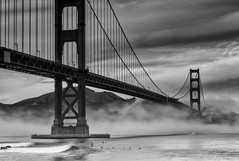 Golden Gate Bridge (tobyharriman) Tags: sf california ca toby white seascape black northerncalifornia fog clouds canon point bay fort foggy scenic bridges wave goldengatebridge nd area infrastructure surfers harriman b7w filters polarized graduated cokin parkpic
