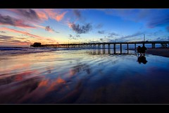 under the rainbow sky (Eric 5D Mark III) Tags: california sunset sky usa cloud color reflection beach water beautiful horizontal canon photography pier rainbow twilight photographer unitedstates atmosphere wideangle newportbeach orangecounty 169 tone ericlo ef14mmf28liiusm eos5dmarkii