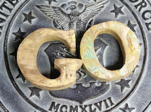 GO SIGN Beach Decor Vintage Nautical Wooden Letters set