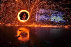 Reflection of the light (R Digi) Tags: bridge light urban wool night graffiti wire nikon long exposure decay steel trails sparks d5000