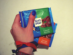 (invisible_helicopter) Tags: food hand chocolate bracelet limitededition rittersport winteredition