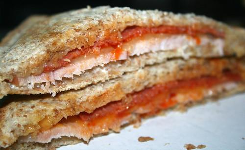 Kassler-Papriksalami-Sandwichtoast / Smoked pork & paprika salami sandwich toast