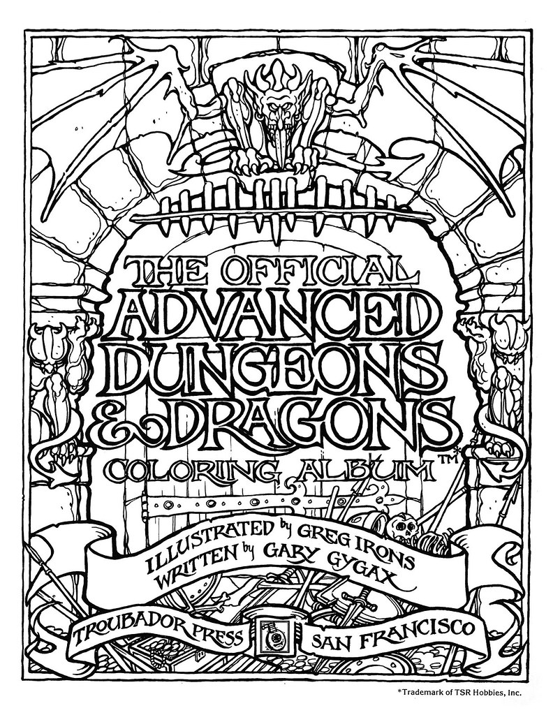 Greg Irons - The Official Advanced Dungeons and Dragons Coloring Album - Title Page (1979)