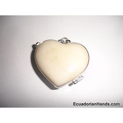 Heart Shaped Locket Tagua Beads and Silver Artwork