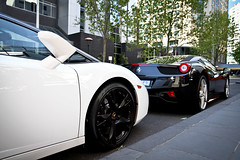 Rivalry (Tom | Fraser) Tags: trees italy white black matt cool wheels melbourne mobil ferrari southbank aussie lamborghini exxon lambo 458 hemera nicewheels