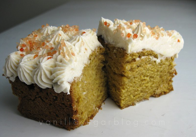 pumpkin bars with cider cream cheese frosting