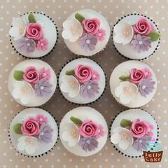 Rose and Blossom 50th Cupcakes (www.jellycake.co.uk) Tags: birthday rose cupcakes lemon blossom chocolate vanilla 50th wiltshire jellycake wwwjellycakecouk