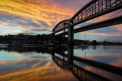 Tamar sunset (snowyturner) Tags: bridge light sunset sun night clouds reflections cornwall cloudy plymouth devon tamar saltash weatherfront