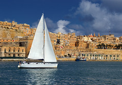 Sailing In Grand Harbour (albireo2006) Tags: blue sea wallpaper sky water wow mediterranean sailing yacht background malta serenity valletta sailingboat mediteranean grandharbour beneteau undersail sailingyacht kartpostal totalphoto v18 leuropepittoresque valletta2018