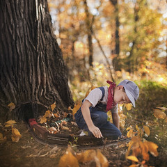 The Train Conductor (Rob Woodcox) Tags: autumn tree fall hat leaves weather forest train kid woods child michigan adorable precious conductor robwoodcox robwoodcoxphotography