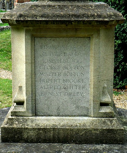 War Memorial, Grantchester, Close up.