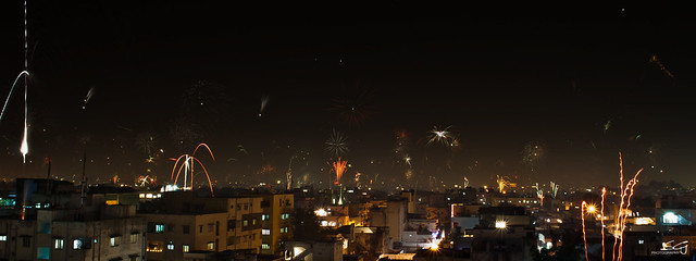 Diwali Night Hyderabad Skyline