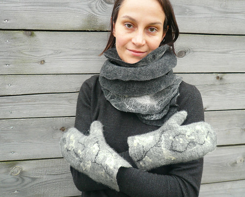 mittens, wool, felted, felt, women
