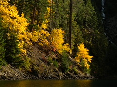 Diablo heaven (Vida Morkunas (seawallrunner)) Tags: autumn usa lake color fall nature water washington quiet colours wa serene backlit cwall rosslakeresort october2011