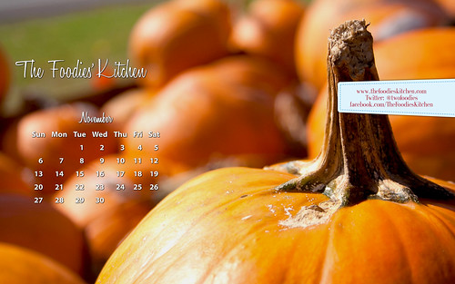Foodies Freebie: November 2011 Desktop Calendar