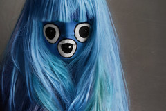 Three Eyed Hairy Monster (Lou Bert) Tags: blue portrait hairy woman halloween face monster self three costume paint dress makeup fancy eyed