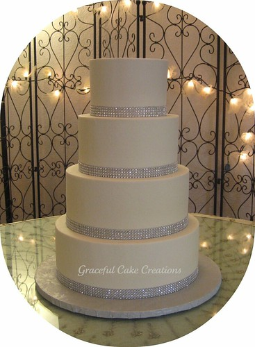 Elegant White and Silver Wedding Cake - a photo on Flickriver