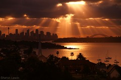 A Little Ray of Sunshine (Sharon Lewin) Tags: city sunset harbor harbour sydney australia rays watsonsbay lpevening lp2011winners