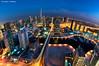 Planet Marina [1] (DanielKHC) Tags: bridge blue light building night digital marina 1 nikon dubai cityscape explore hour dri hdr interchange blending d300 nikkor105mmfisheye danielcheong danielkhc