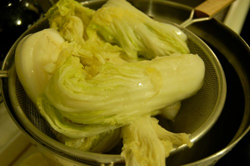 Salted cabbage, draining