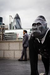 London (Skid X) Tags: sculpture man london businessman skyline monkey southbank uomo ape gherkin londra palazzi scultura scimmia uomodaffari skidx