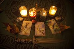 Samhain Tarot cards (socialwrkrlaura) Tags: rocks candles ceremony samhain tarot ritual wicca quarters highpriestess theworld athame sabbat fourofcups