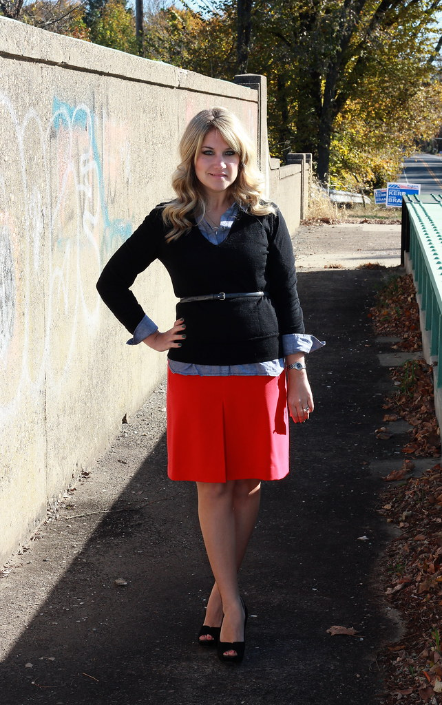 black and red business casual outfit idea