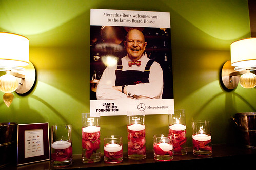 James Beard sign, welcoming to the Mercedes-Benz dinner