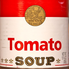 Tomato soup (kevin dooley) Tags: red white closeup canon tomato eos soup label sigma can 1900 campbells campbellssoup tomatosoup soupcan 105mm campbellstomatosoup notwarhol 40d tomatosoupcan parisinternationalexposition
