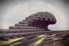 Pixelated wave (Jarand Midtgaard) Tags: architecture illustration 3d renderings perspective projects visualization urbanism utopia rendering megastructure consept megastructures