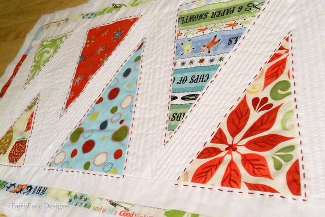 Minimalist trees runner quilting