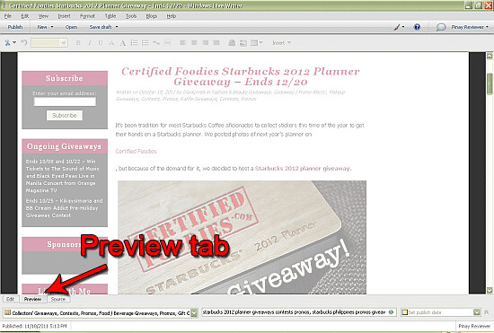 Preview tab on Windows Live Writer