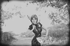 Petropavlova Daria | photoset'Japanese_motif'2011 (MrVertrau) Tags: wallpaper portrait blackandwhite bw woman girl beauty japan photography fan photo model photos dante portrt singer sword frau mdchen daria  schnheit schwert fcher sngerin       rothaarig             petropavlova