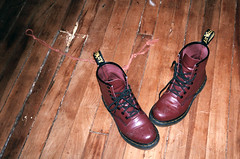 rope (Jacob Seaton) Tags: wood red punk floor boots room rope string docs twine drmartins drs