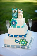Tiff and Phil's wedding cake 1 (TheCakeVersionsOfThings) Tags: weddingcake buttoncake owlcake whimsicalweddingcake buttonweddingcake