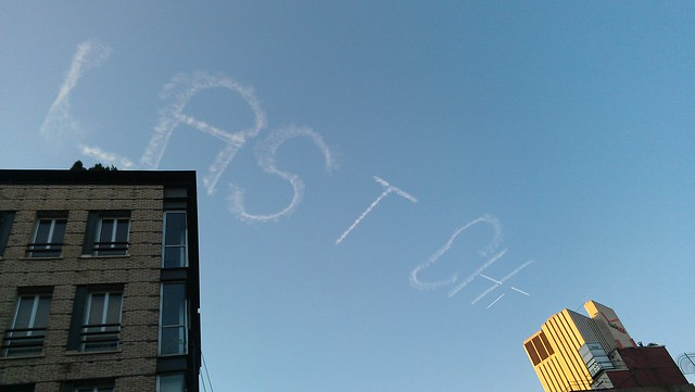 """Last Chance"" from Kim Beck's skywriting project over Manhattan"