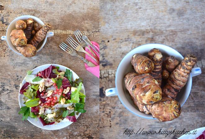 insalata topinambur, melagrana e noci fresche