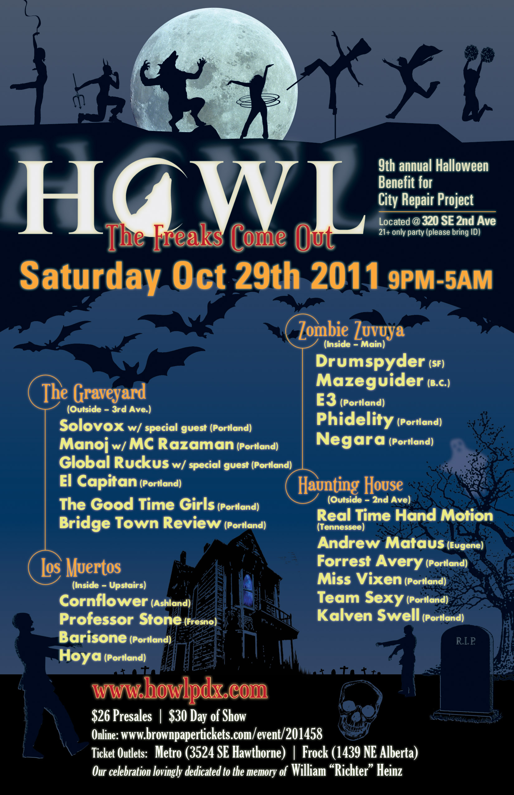 HOWL 9th annual Halloween benefit for City Repair Project