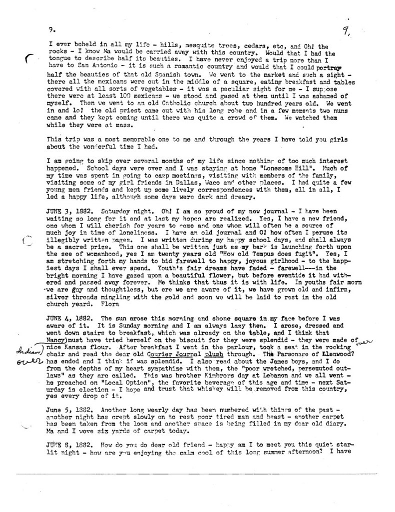 Florence McWhorter Harrington Diary - 09
