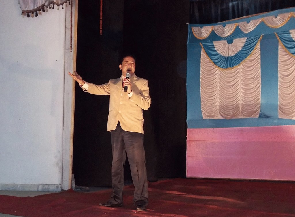 Surya Sinha addresing the audience in assam