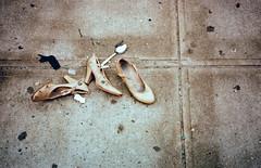 (carly rabalais) Tags: street ny brooklyn trash found spoon sidewalk shitty dirtyshoes crossprocessfilm 3shoes