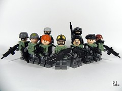Highly Advanced Royal Militia(H.A.R.M) ( Roku ) Tags: modern hair call lego military duty royal pedro h hazel ama tiny skater militia beret scar colt m4 highly roku commando 79 advanced tactical brickarms brickforge