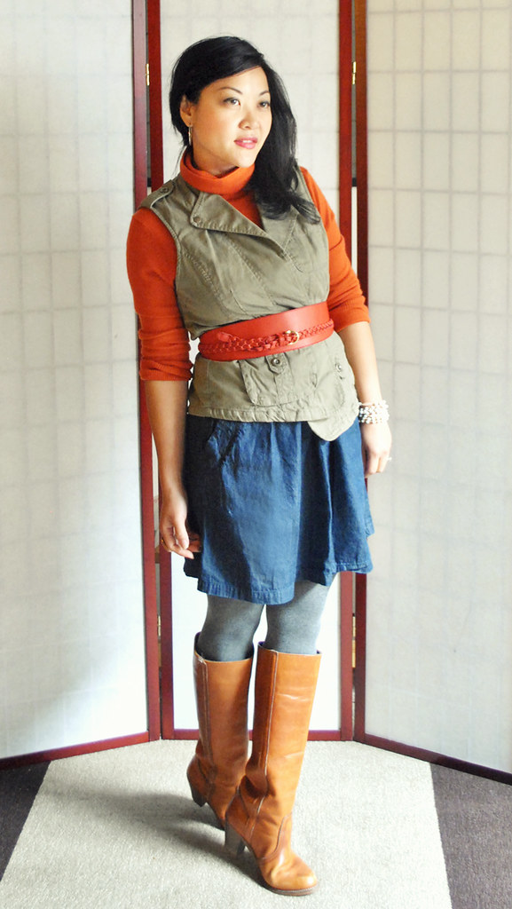 Outfit - Fall - Orange Turtleneck Sweater - Green Vest - Denim Skirt - Cognac Boots