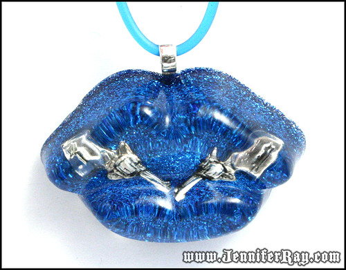 Loaded Pucker Necklace - 6 Shooter in Blue Glitter Resin Pucker Lips Necklace by JenniferRay.com