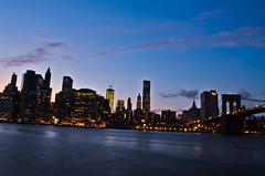 Bridge, downtown manhattan at dusk (nsomniac_artist) Tags: newyork brooklyn brooklynbridge manhattanbridge downtownmanhattan downtownmanhattanfrombrooklyn