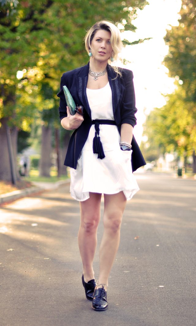 black and  white and  turquoise outfit