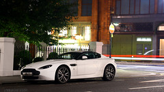 Aston Martin V8 Vantage N420 (Niels de Jong) Tags: white black london night canon eos long exposure shot martin centre sigma harrods exotic 18200 supercar v8 aston vantage n420 nielsdejong nightshut 1000d ndjmedia