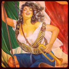 La Adelita as a chromo art Mexican calendar girl